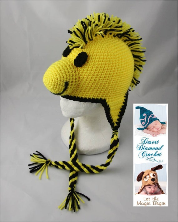 Yellow Bird Earflap Beanie - Any Colors - Any Size