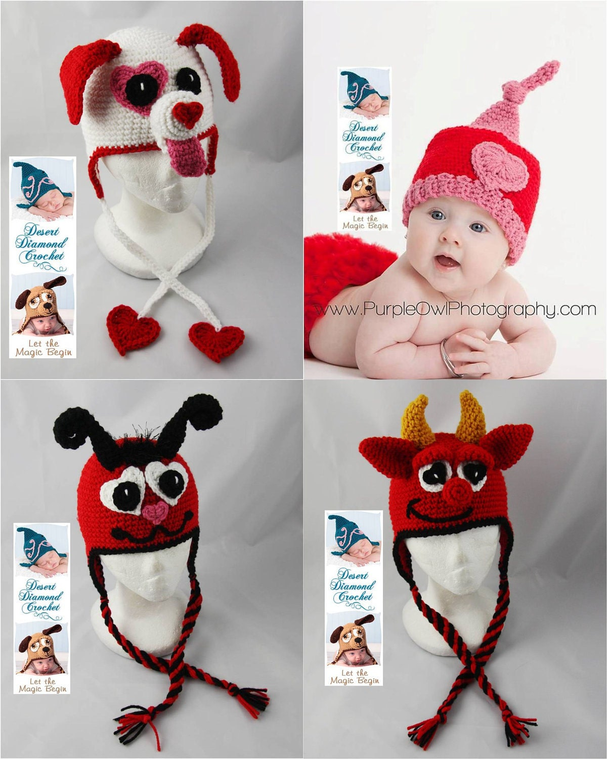 Crochet Pattern   Valentineu0027s Day Hat Pattern Pack 1   4 Patterns   All  Sizes