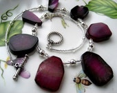 Raspberry Free Form Semi-Precious Agate Stones, Silver Beads, Clear Seed Beads - Raspberry Delight Necklace