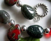 Reserved for Nikki - Green Moss Agate Semi-Precious Stones, Red Czech Glass Picasso Pear Drops, Red Teardrops, Round Silver Beads Dangly Bracelet - One of a Kind