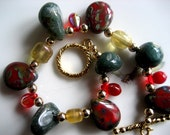 Reserved for Nikki -Green Moss Agate Semi-Precious Stones, Red,Green Czech Glass Pear Drops, Amber Glass Beads Red Glass Teardrops, Round Goldtoned Beads Dangly Bracelet - One of a Kind