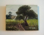 Vintage Painted Landscape on Canvas