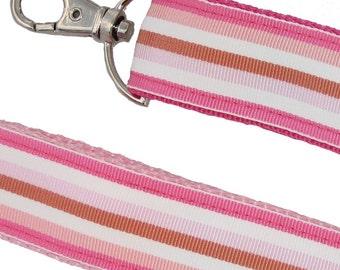 Key Fob - Pink Striped keychain wristlet