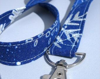 ID Badge Lanyard Winter Snowflake Blue