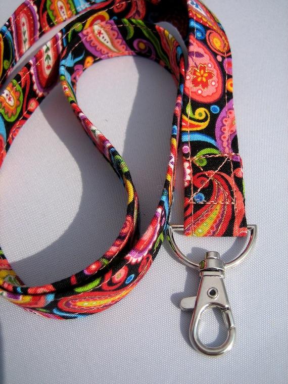 ID Badge Lanyard in bold rainbow paisley print