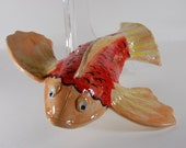 Pottery Koi Fish Wall Hanging- handmade-porcelain-Hand Painted-Unique