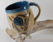 Pottery Mug, Sea Turtle, Hand Painted, Serving, Handmade 104