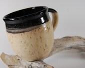 Pottery Mug, Black And Bamboo, Handmade