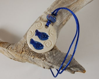 Blue Fish Pottery Pendant Necklace J05