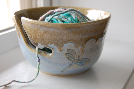 BAMBOO AND BLUE DRAGONFLY YARN BOWL