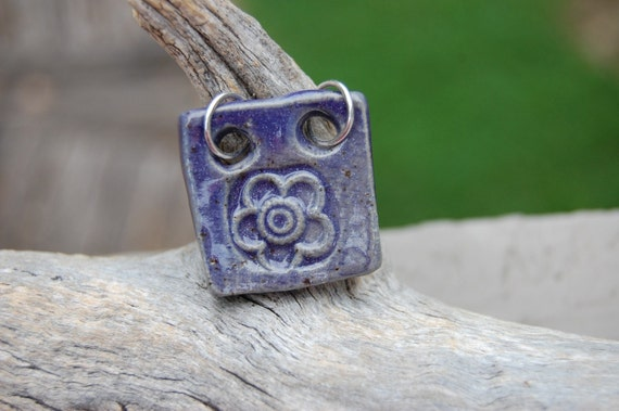 Pottery Focal Pendant Purple Flower 56 Free Shipping