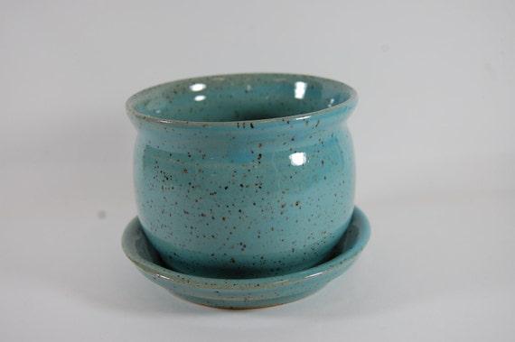 Turquoise Pottery Planter,Flower Pot,Garden,Plants