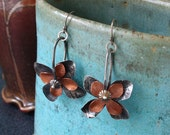 Mixed Metal Flower Spur Earrings in Copper and Sterling         READY TO SHIP
