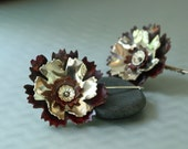 Copper and Sterling Ruffled Flowers