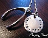 Custom Sterling Silver Wishbone Charm Necklace by Carmen Bowe