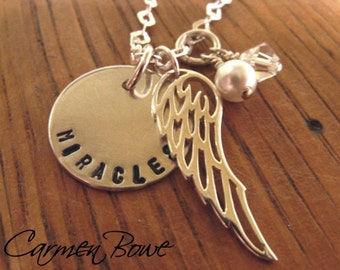 Custom Sterling Miracle Angel Wing Charm Necklace by Carmen Bowe