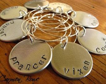 Set of 8 custom hand stamped drink-wine identifiers by Carmen Bowe