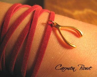 Lucky Gold Wishbone Wrap Bracelet by Carmen Bowe