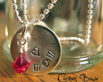 Sterling Silver (petite heart) MOM Crystal Necklace by Carmen Bowe
