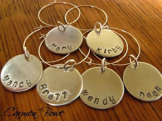 Set of 6 custom hand stamped drink-wine identifiers by Carmen Bowe
