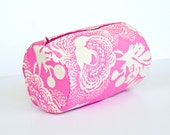 Pink and Ivory White Floral Circle Zip Pouch for Makeup Toiletries and More