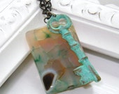 devon. Agate, Patina Skeleton Key and Gunmetal Chain Necklace