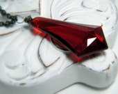 twilight.  Vintage Red Briolette on a Long Gunmetal Chain Necklace