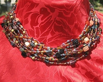 Bohemian Glass Bead Collar Necklace SALE 65% 0ff