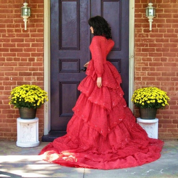 Gothic Red Lace Wedding Gown Sale 40% off