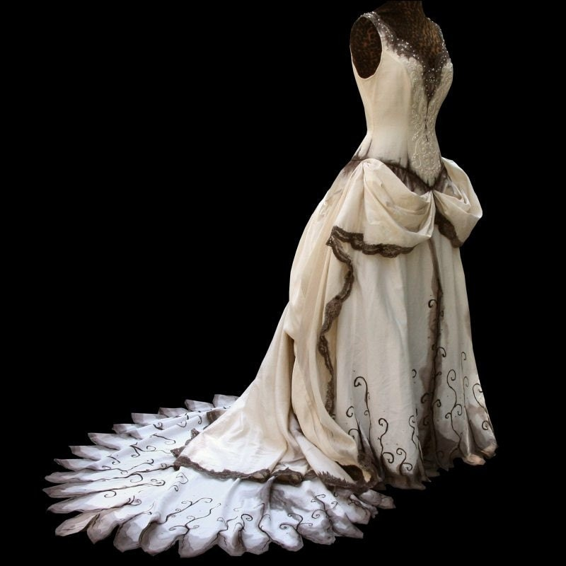 French gothic wedding gown hand painted for Corpse bride wedding dress for sale