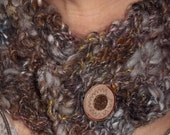 Nubby Button Scarf Crocheted with Artisan Yarn