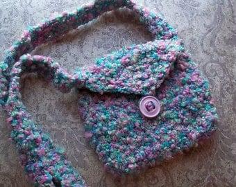 Nubby Pastel Crochet Shoulder Bag