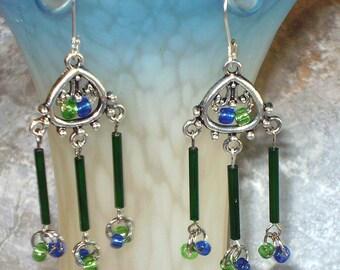 Blue Green Dangles Chandelier Earrings