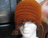Farewell Sale 1920's Flapper Cloche Hat Rusty Red Orange Jewel toned Women's Fall and Winter