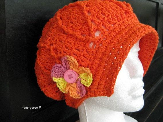 Tangerine Orange with flower Cotton Spring and Summer Newsboy Cap