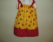 Apples and Bumblebees Pillowcase Dress, Size 2T / 3T, Reduced price