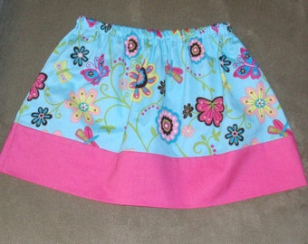 Floral Twirl Skirt, Pink and Turquoise Size 3T
