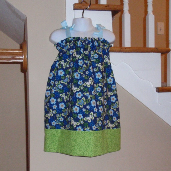 Pillowcase Dress Butterfly & Flowers Modified, Size 3T