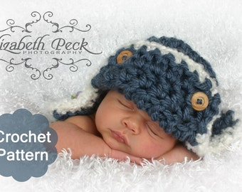 Aviator Crochet Pattern -- 0-6 month size -- Sell what you make INSTANT DOWNLOAD