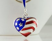 Sterling Silver Pendant Double Sided Heart American Flag Red White Blue
