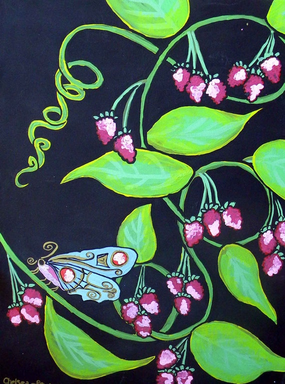 Blue Moth at night with Raspberries Acrylic Painting