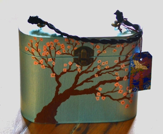KOUSA Hand Painted Oval Rounded Box Purse Japanese Pink Dogwood