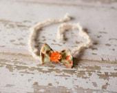 Orange Bow with flower Halo Style Headband