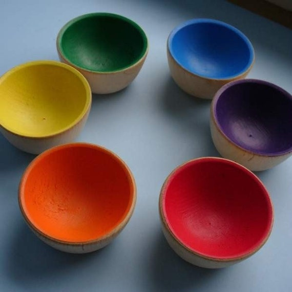 Rainbow Wooden Sorting Bowls  -  Waldorf Inspired Toy