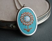 Embroidered Pendant Necklace Tangerine and White Blossom on Turquoise Linen