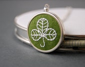 Clover Necklace Embroidered Shamrock on Moss Green Linen