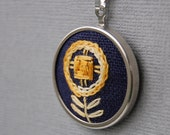 Embroidered Pendant Necklace Modern Golden Blossom on Navy Blue Linen