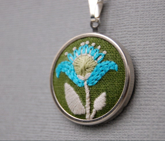Embroidered Pendant Necklace Aqua and Pear Green Blossom on Moss Green Linen