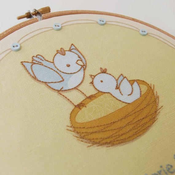 DIY Hand Embroidery Fabric Birth Record Panel, Baby Bird Design, Gender Neutral for Modern or traditional Nursery Wall Art