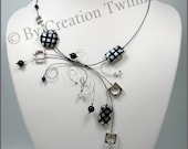 black and silver necklace, swirls necklace, bridesmaids necklace, wedding favor, mother days gift, contemporary jewelry, illusion necklace